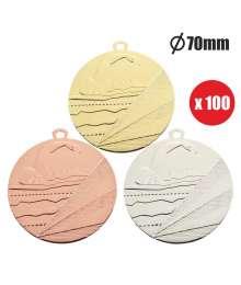 Pack de 100 Médailles Frappées Natation 7798 ø70mm