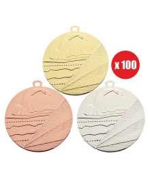 Pack de 100 Médailles Frappées Natation 7793 ø50mm