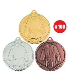 Pack de 100 Médailles Frappées sports de combats 7780 ø32mm