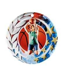 Médaille Céramique Couleurs 70mm Basket Femme - F-NA03