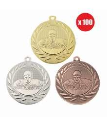 Pack de 100 Médailles Frappées 50mm Natation - BS-DI5000.H.01 - BS-DI5000.H.02 - BS-DI5000.H.27 x100