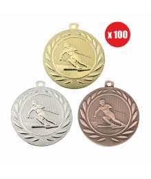 Pack de 100 Médailles Frappées 50mm Ski - BS-DI5000.Q.01 - BS-DI5000.Q.02 - BS-DI5000.Q.27 x100