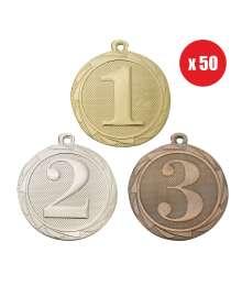 Pack de 50 Médailles Frappées 45mm Numéro - BS.ME101.01 - BS.ME102.02 - BS.ME103.27 x50