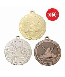 Pack de 50 Médailles Frappées 45mm Karting - BS.ME107.01 - BS.ME107.02 - BS.ME107.27 x50