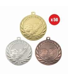 Pack de 50 Médailles Frappées 50mm Football - BS-DI5000.B.01 - BS-DI5000.B.02 - BS-DI5000.B.27 x50