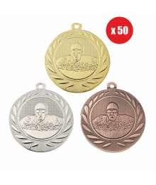 Pack de 50 Médailles Frappées 50mm Natation - BS-DI5000.H.01 - BS-DI5000.H.02 - BS-DI5000.H.27 x50