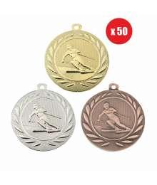 Pack de 50 Médailles Frappées 50mm Ski - BS-DI5000.Q.01 - BS-DI5000.Q.02 - BS-DI5000.Q.27 x50