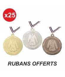 Pack de 25 Médailles Frappées 45mm Rubans Offerts Judo/Karaté - B-BS.ME106 x25