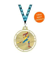 Médaille émaillée frappée Cross 70mm avec ruban - F-BX03D 7063R
