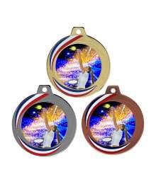 Médaille 70mm avec Pastille Couleurs Tennis Femme - F-Q018D - F-Q018A - F-Q018B CH55