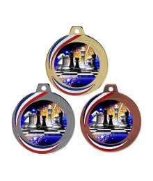 Médaille 70mm avec Pastille Couleurs Echecs - F-Q018D - F-Q018A - F-Q018B CH20