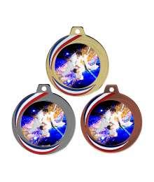 Médaille 70mm avec Pastille Couleurs Judo - F-Q018D - F-Q018A - F-Q018B CH38