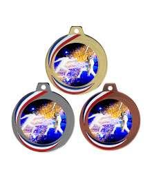 Médaille 70mm avec Pastille Couleurs Escrime - F-Q018D - F-Q018A - F-Q018B CH23