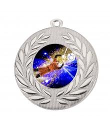 Médaille Argent 50mm avec Pastille Couleur Foot Gardien - B-D111