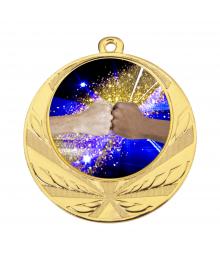 Médaille Or 70mm avec Pastille Couleur Amitié - 8540
