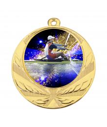 Médaille Or 70mm avec Pastille Couleur Aviron - 8540