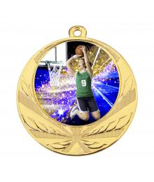 Médaille Or 70mm avec Pastille Couleur Basket F - 8540