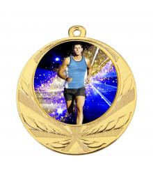 Médaille Or 70mm avec Pastille Couleur Cross Homme  - 8540