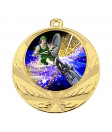Médaille Or 70mm avec Pastille Couleur BMX  - 8540