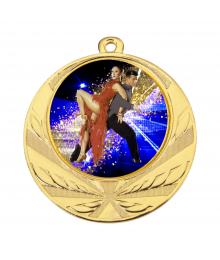 Médaille Or 70mm avec Pastille Couleur Danse  - 8540