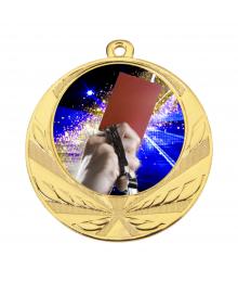 Médaille Or 70mm avec Pastille Couleur Arbitre Foot - 8540
