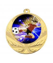 Médaille Or 70mm avec Pastille Couleur Foot 1 - 8540