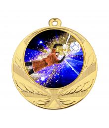 Médaille Or 70mm avec Pastille Couleur Gardien Foot - 8540