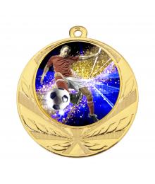 Médaille Or 70mm avec Pastille Couleur Foot 2 - 8540