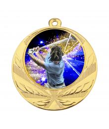 Médaille Or 70mm avec Pastille Couleur Golf - 8540