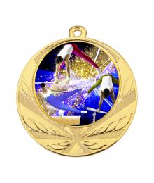 Médaille Or 70mm avec Pastille Couleur Gym Homme - 8540