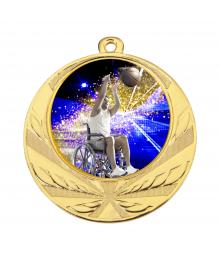 Médaille Or 70mm avec Pastille Couleur Handisport - 8540