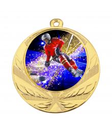 Médaille Or 70mm avec Pastille Couleur Hockey - 8540