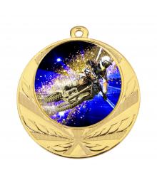 Médaille Or 70mm avec Pastille Couleur Motocross - 8540