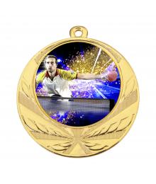 Médaille Or 70mm avec Pastille Couleur Tennis de Table - 8540