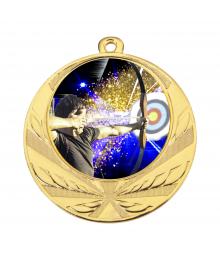 Médaille Or 70mm avec Pastille Couleur Tir à l'arc - 8540