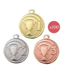 Pack de 100 Médaille Frappée 32mm Podium/Victoire - 7785